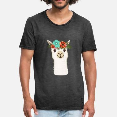Alpacas Alpaca with flowers - Men's Vintage T-Shirt
