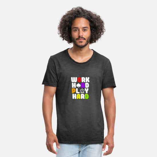 Typo Collection T-Shirts - Work Hard Play Hard - Men's Vintage T-Shirt washed black