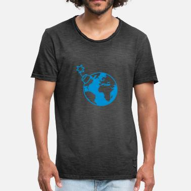 Verdensøkonomien Earth Globe Planet World Round Globe Circle Text - Herre vintage T-shirt