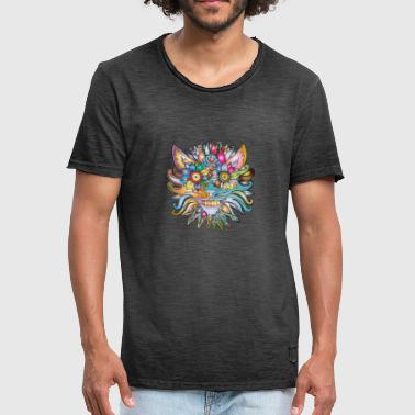 Cat face in flower dung - Men's Vintage T-Shirt