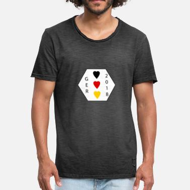 Heart Shaped Football German flag colors in heart shape - Men's Vintage T-Shirt