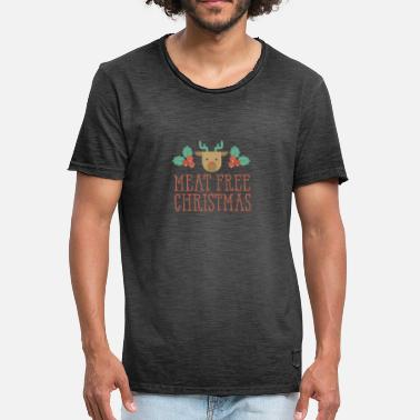 Vegan Long Sleeved Meat Free Christmas Reindeer Mistletoe Vegan Xmas - Men's Vintage T-Shirt
