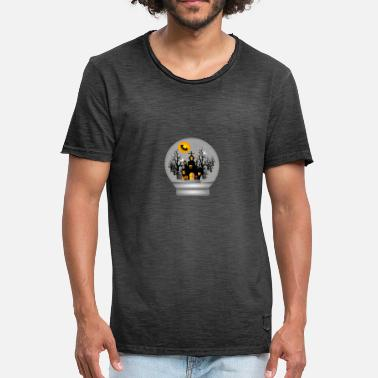 Graveyard HAUNTED HOUSE LENTE GLOBE BATS CATS GHOST SPIDERS - T-shirt vintage Homme