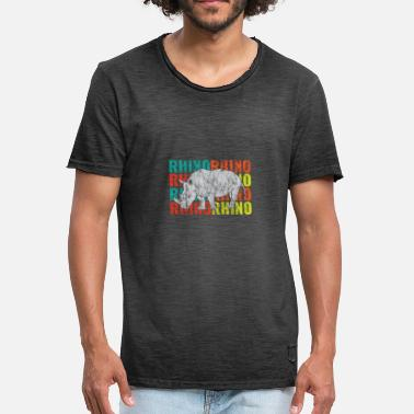 Safari Look Retro Nashorn Used Look - Männer Vintage T-Shirt