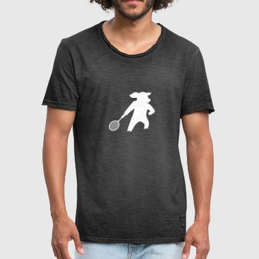 Pig plays badminton tennis - Men's Vintage T-Shirt