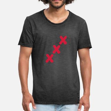Xxx Red xxx crosses sign symbol triple row - Men's Vintage T-Shirt