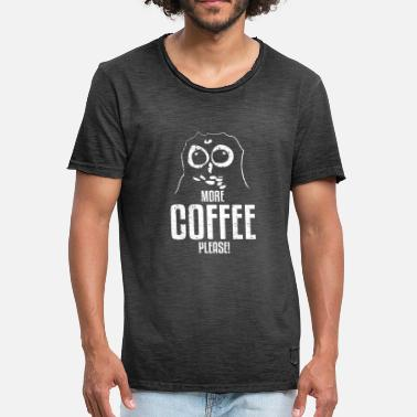 Owl Draw Owl Drawing> More Coffee Please - Men's Vintage T-Shirt