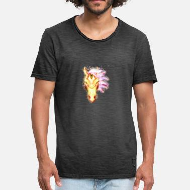 Horse head metallizer brightly glowing - Men's Vintage T-Shirt