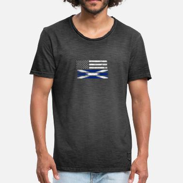 Half Scottish Scottish American Flag - United States Scotland Shirt - Men's Vintage T-Shirt