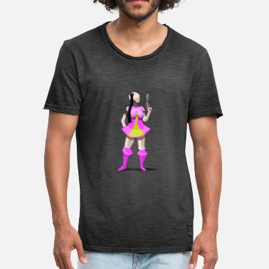 Sexy Anime Girls Sexy anime girl with pistol - Men's Vintage T-Shirt