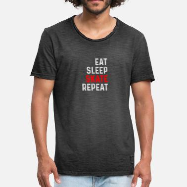 Skate EAT SLEEP SKATE REPEAT SKATER SHIRT - T-shirt vintage Homme