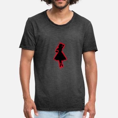 Girl Outline Dress silhouette red and black outline - Men's Vintage T-Shirt