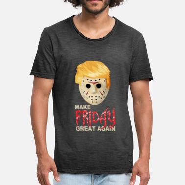 Mask Halloween Anti Trump with Jason Mask - Men's Vintage T-Shirt