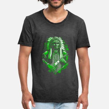 American Indian Indian chief Native American - Mannen Vintage T-shirt