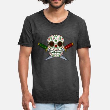 Calavera mexicana y puñales. Día de los muertos - Camiseta vintage hombre a541361b018