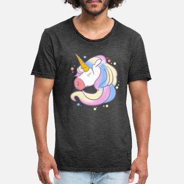 Magical Creatures Unicorn Head Magical Creatures Magic Fantasy - Men's Vintage T-Shirt