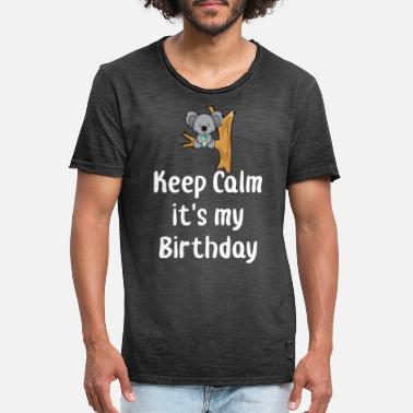 Anime Girl Keep Calm Birthday Quote Funny Baby Koala Bear - Men's Vintage T-Shirt
