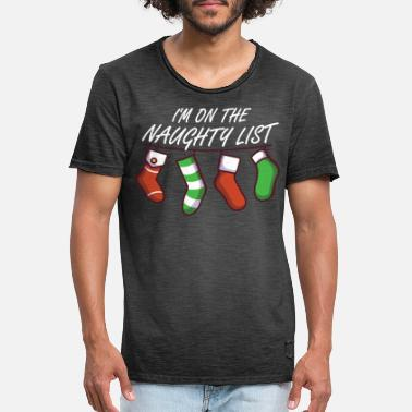 In On The Naughty List Christmas Naughty Badger Xmas - Mannen vintage T-shirt
