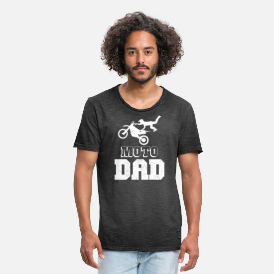 Freestyle T-Shirts - Moto Dad Dirt Bike Flying Gift - Men's Vintage T-Shirt washed black