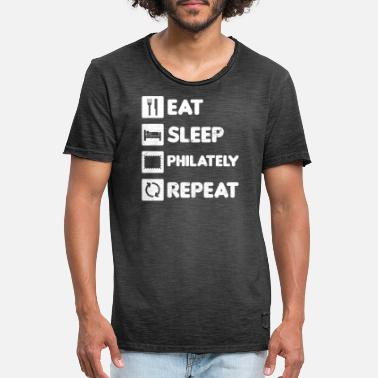 Hobby Philately Eat Sleep Repeat Gift - Men's Vintage T-Shirt