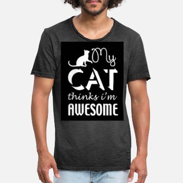 Iam Awesome cat thinks iam awesome - Männer Vintage T-Shirt