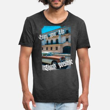 Cuba Hot Rod Us Car Positivo - Camiseta vintage hombre