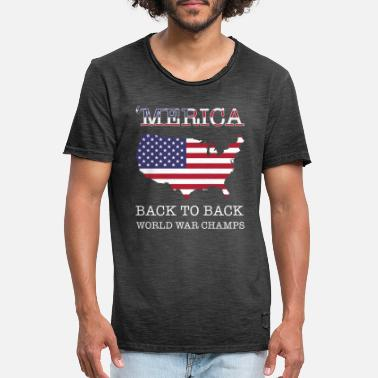 Merica Back To Back World War Champ Patriotic 4th - T-shirt vintage Homme