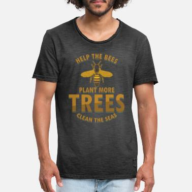 Clean Save Bees plant meer bomen Clean the Sea - Mannen vintage T-shirt