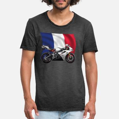 Bainderas silver motorcycle with France flag - Men's Vintage T-Shirt