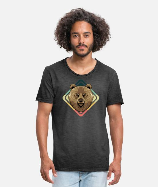 Nature T-Shirts - Retro grizzly bear gift I vintage brown bear - Men's Vintage T-Shirt washed black
