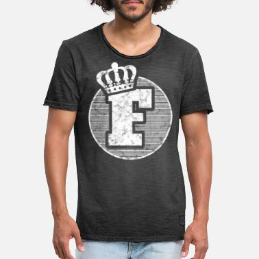 Lettering Stylish letter F with crown - Men's Vintage T-Shirt