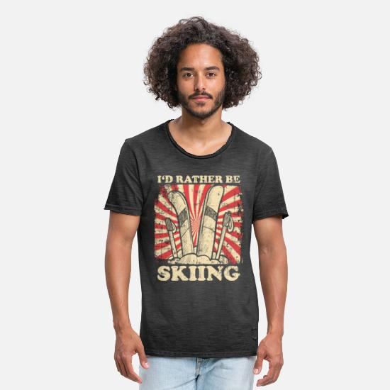 Winter T-Shirts - Skier winter mountains - Men's Vintage T-Shirt washed black