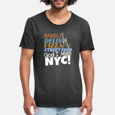Ny Love New York City Gift - Pizza Bagels Delis - Men's Vintage T-Shirt