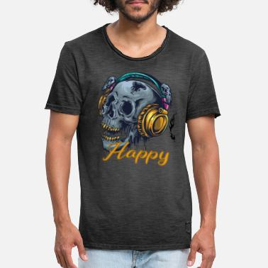 Skull Musician Headphones Cooler Happy Saying - Men's Vintage T-Shirt