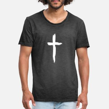 Cross Cross Christianity Religion White - Men's Vintage T-Shirt