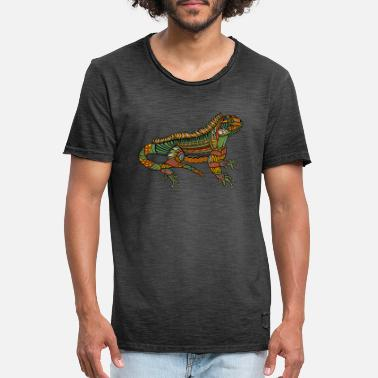 Ornamental Spiritual Iguana - Magical & Ornamental Reptile - Vintage T-shirt herr