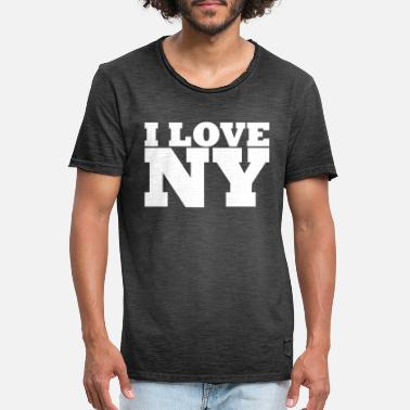 I Love Ny NY - NYC - NEW YORK - I Love NY - I Liebe NY - Männer Vintage T-Shirt