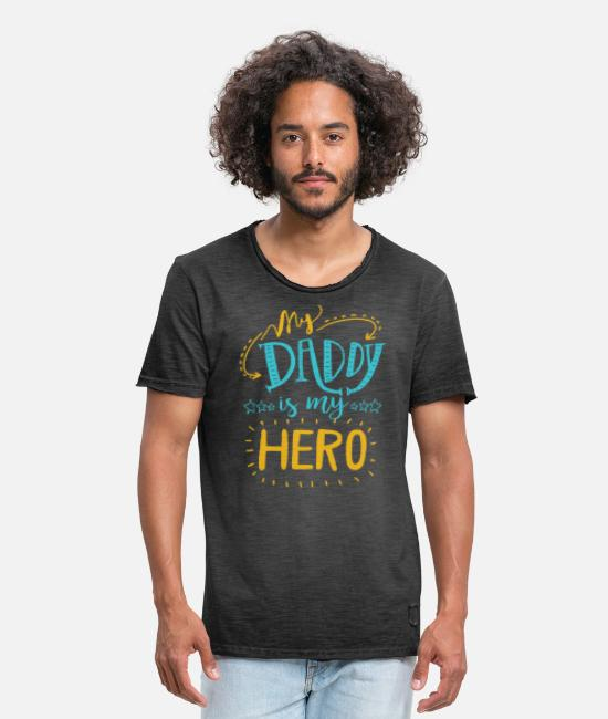 Father's Day T-Shirts - My dad is my hero T-shirt - Men's Vintage T-Shirt washed black