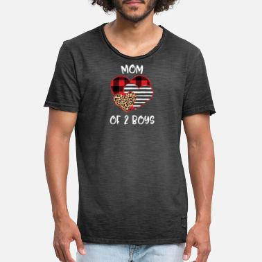 Boys Mom Of 2 Boys Heart Buffalo Plaid Léopard - T-shirt vintage Homme