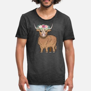 Highland Scottish Highland Highland Cattle koe - Vintage T-shirt herr