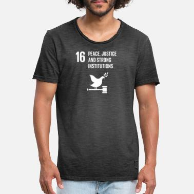 Global 16 Peace Justice Strong Institutions Global Goals Institutions - T-shirt vintage Homme