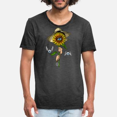 Hippie Psychedelic Sunflower Hippie - Men's Vintage T-Shirt