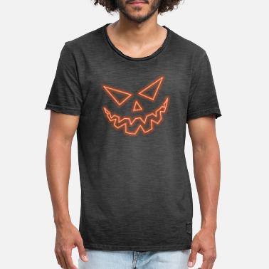 Halloween Pumpkin Face - Glow Edition - Männer Vintage T-Shirt