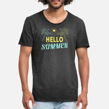 Summer Hei sommer Hello Summer Holiday skjorter og tanker - Vintage T-skjorte for menn