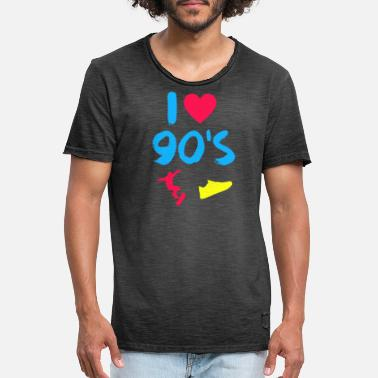I love 90's 90's party retro costume gift - Men's Vintage T-Shirt