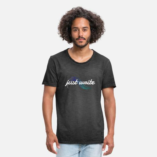 Feather T-Shirts - just write - Men's Vintage T-Shirt washed black