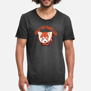 Red Panda Crazy Red panda lady with realistic panda - Men's Vintage T-Shirt
