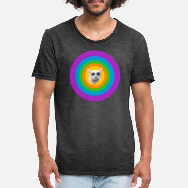 Cat Cat Grumpy Ugly Funny Funny Colorful - Maglietta vintage uomo