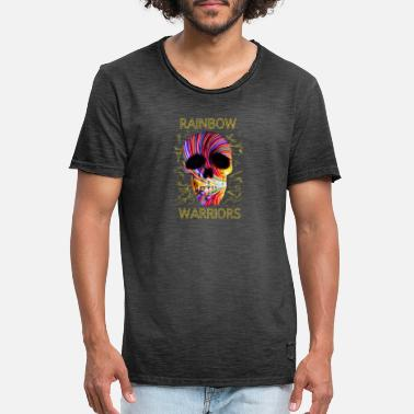 Rainbow Warrior Skull - Men's Vintage T-Shirt
