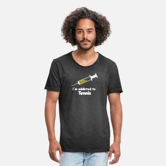 I Love Tennis T-Shirts - addicted to tennis white - Men's Vintage T-Shirt washed black
